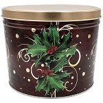 Gourmet Popcorn Tin 2 Boughs Of Holly