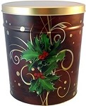 Gourmet Popcorn Tin 3 1/2 Gallon Boughs of Holly