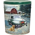 Gourmet Popcorn Tin 6 1/2 Gallon Countryside Christmas