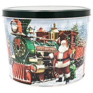 Gourmet Popcorn Tin 2 Gallon Santa Express