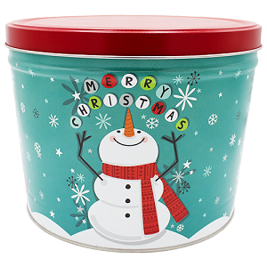 Gourmet Popcorn Tin 2 Gallon Cheery Snowman
