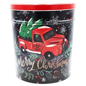 Gourmet Popcorn Tin 3 1/2 Gallon Tree Farm Truck