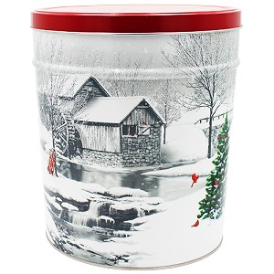 Gourmet Popcorn Tin 6 1/2 Gallon Snow Covered Mill