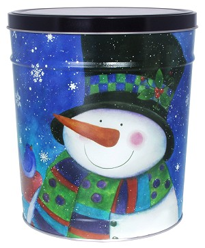 Gourmet Popcorn Tin 6 1/2 Gallon Top Hat Snowman