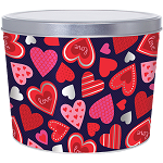 Gourmet Popcorn Tin 2 Gallon Happy Hearts