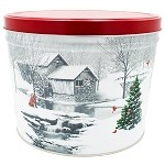 Gourmet Popcorn Tin 2 Gallon Snow Covered Mill