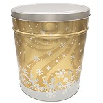 Gourmet Popcorn Tin 3 1/2 Gallon Swirling Snowflake