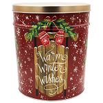 Gourmet Popcorn Tin 3 1/2 Gallon Warm Winter Wishes