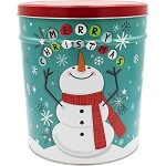Gourmet Popcorn Tin 3 1/2 Gallon Cheery Snowman