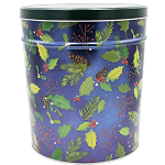 Gourmet Popcorn Tin 6 1/2 Holly & Pine