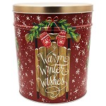 Gourmet Popcorn Tin 6 1/2 Gallon Warm WInter Wishes